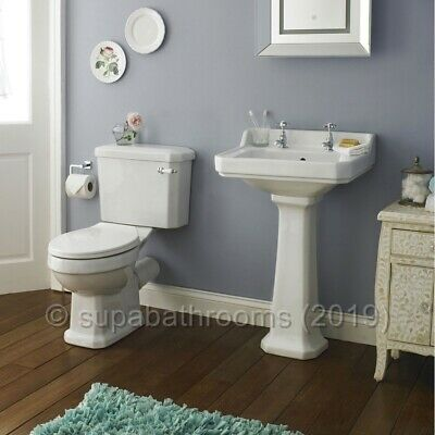 Carlton 4 Piece Traditional Suite Toilet WC Basin, Pedestal, Seat