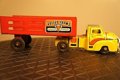 1940's Pressed Steel Tin Wyandotte Toys Valley Farms Produce Litho Toy Truck