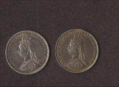 1887 2 X Queen Victoria Silver Threepence Coins