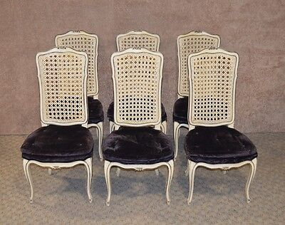 Set of 6 French Country Cane Back Dining Side Chairs