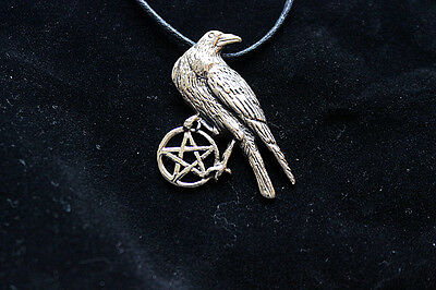 Bronze RAVEN PENTACLE Necklace Protection Celtic Morrigan Wicca Pagan