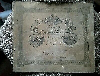 Witham Essex Labourers Friend & Agricultural Society Certificate 1800's