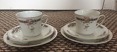 China Tea Cup & Saucer Trio X2 Sets, Floral, Tea Party, Vintage Shabby
