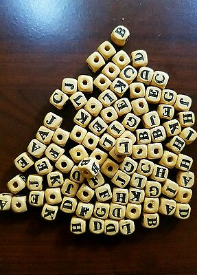 200 Dados de madera 8 mm color natural alfabeto  alphabet letters dices cubes