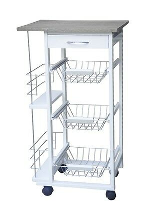 New 3 Tier 1 Drawer With 2 Side Compartments White Kitchen Trolley -Free Spinner