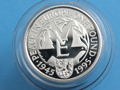 ALDERNEY - 1995 SILVER PROOF ONE POUND £1 COIN  - End of World War II