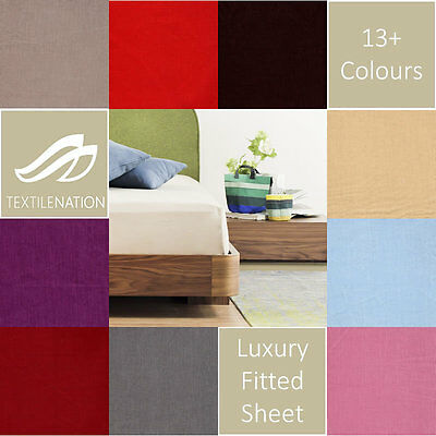 Luxury Plain Dyed Fitted Bed Sheets Percale Cover Single Double King Super King