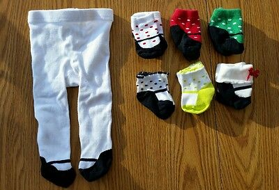 6 pairs newborn girl socks and 3 months winter tights lot