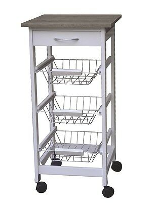 3 Tier 1 Drawer Kitchen Trolley White Wood Cart Basket Storage-Free Spinner
