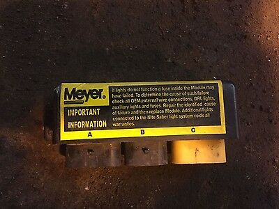 Used Meyer Snow Plow Head Light Module Box - Old Style W/ 4 Pin Connector