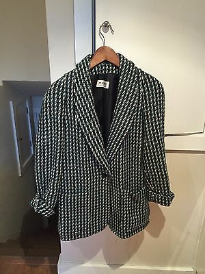 Vintage Houndstooth Wool Blazer By Planet