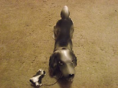 CERAMIC GRAY COCKER SPANIEL with PUP on CHAIN