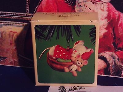 Napping Mouse`1984..Little Mouse Sleeping With His Toys`Hallmark Tree Ornament