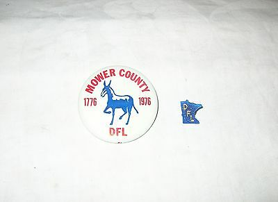2 Vintage Republican Campaign Collectables Mower County Minnesota DFL Pins