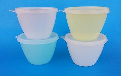 Tupperware Pastel Refrigerator Bowls with Seals #148 Set of Four