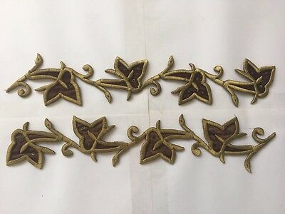 2 Pcs Antique Ottoman Turkish Gold Metallic Hand Embroidery For Appliques