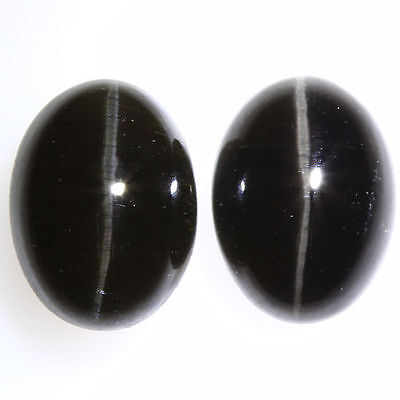 3.820 Ct VERY RARE FINE QUALITY 100% NATURAL SILLIMANITE CAT'S EYE INTENSE PAIR!