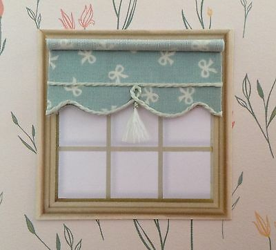 """24th Scale Blind 2"""" Wide For Dolls House  Mint With Ivory Bows"""