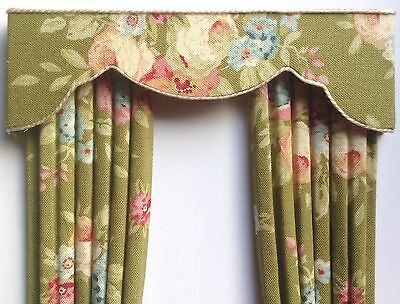 """12th OLIVE ROSES Dollhouse Curtains LARGER SIZE 5 X 8"""""""