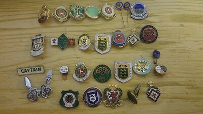 Collection of vintage enamel bowling badges