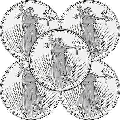 Saint-Gaudens Medallion by SilverTowne 1oz .999 Silver-5 pc
