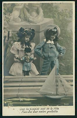 Sister girl play doll & ssil boat toy on lake original old 1910s photo postcard