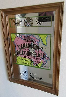 Vintage Canada Dry Ginger Ale Mirror Sign Map Man Cave Bar Beautiful EUC