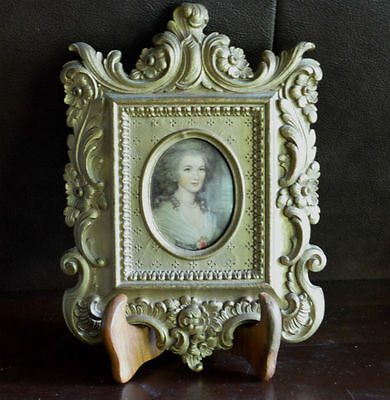 Antique Portrait of Lady in Ornate Frame on Stand