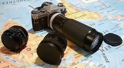 Canon AE-1 Program Film SLR Camera With 3 x Lenses - Wideangle, Tele and Zoom