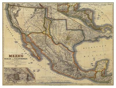 1849 Republic of Texas US Mexico Map German Historical