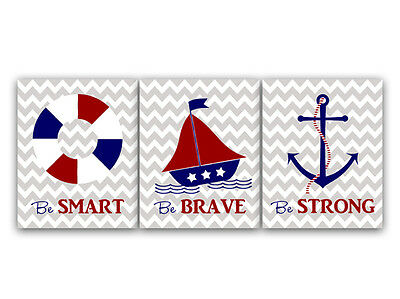 """Be Brave"" Nautical Nursery and Kids Room Art Prints in Red White Blue - KIDS33"