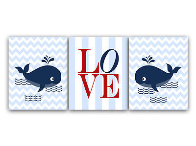 "UNFRAMED Whale Nursery and Kids Room Art with ""LOVE"" Print - KIDS128"