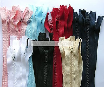 5 X Nylon Closed Ended Zips ( Choice Of Colours & Length ) 7 Inch To 22 Inch