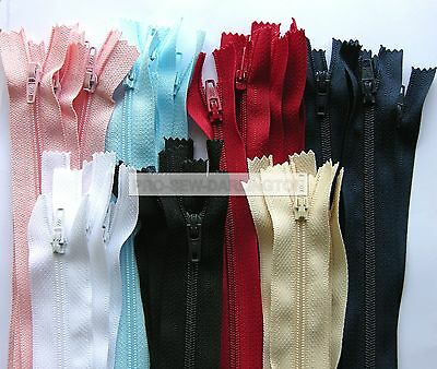 5 X TREBLA No.3 NYLON CLOSED ENDED ZIPS ( CHOICE OF COLOURS & LENGTH ) 7-22 INCH