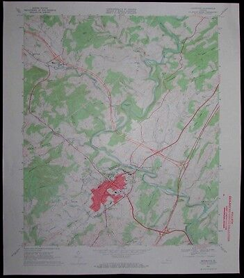 Lexington Virginia Maury River vintage 1969 old USGS Topo chart