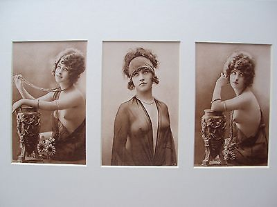 Mounted Vintage triple postcards of semi-nude 1920´s glamour girl/erotic /risque