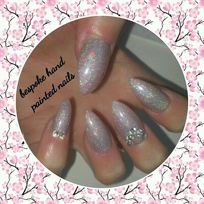 Bespoke Hand Painted Stilletto Long Full False Nails Nude Holographic with Gems
