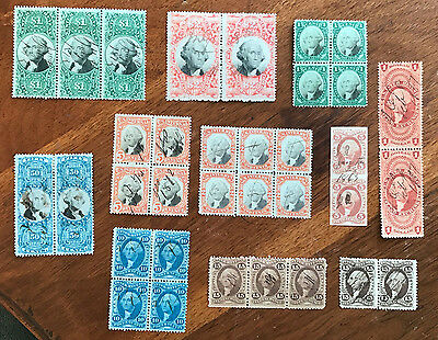 Great lot of early US Revenue MULTIPLES, 10 different, scarce, free US shipping