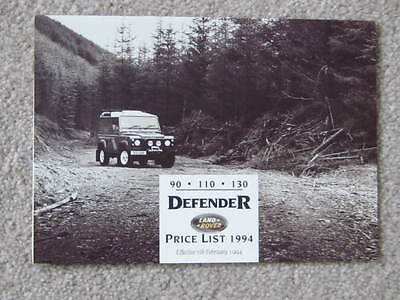 1994  February Land  Rover  Defender    Price List   Including Options