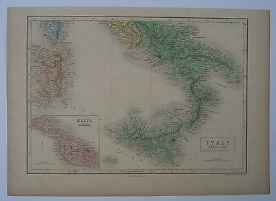 Southern Italy: antique map by A & C Black, 1851