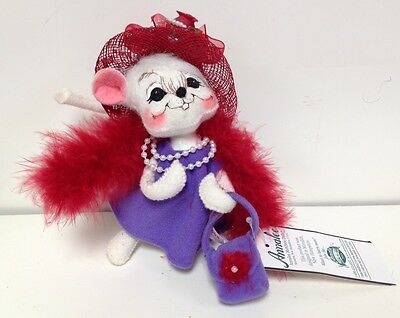 """NOS NWT Rare 6"""" Scarlet Mouse Annalee Mobilitee Doll Red Hat Society Collectible"""