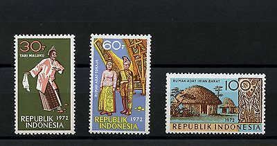Indonesia #831-833 (IN330) Comp 1972 Dancers and Houses, MNH, VF