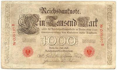Germany, Empire P-21 1898 1000 Mark Reichsbanknote Banknote *Scarce Note