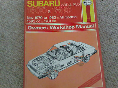 Subaru 1600 1800 2WD 4WD 1979 to 1983 Haynes Owners Workshop Manual