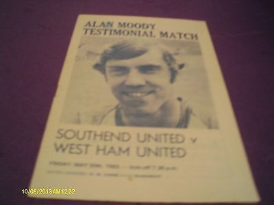Southend Utd V West Ham Utd Alan Moody Testimonial Match 1983