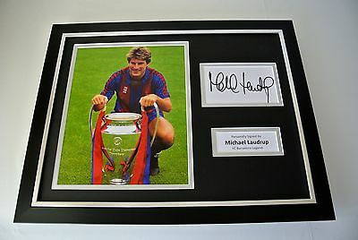 Michael Laudrup SIGNED FRAMED Photo Autograph 16x12 display Barcelona PROOF COA