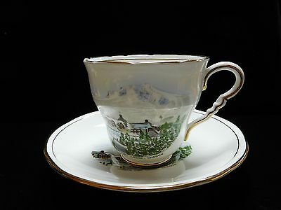 Vintage Timberline Lodge Oregon Cup and Saucer Signed ROYAL STAFFORD Bone China