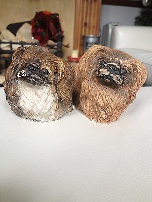 Pekingese Dog Chalk Figurine Ornament Vintage