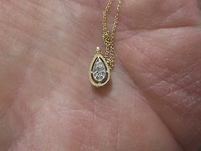 "Gorgeous Older Vtg 14K Yellow & White Gold & 2 Diamond Pendant & 16"" Necklace"