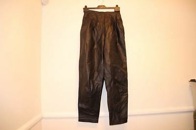 vintage leather trousers high waisted tapered 1980s